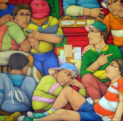 """Titre """"Psyberfulbito"""" (2009) / 100 cm x 100 cm / Peinture à l'huile sur toile / Prix: 25 000€"""