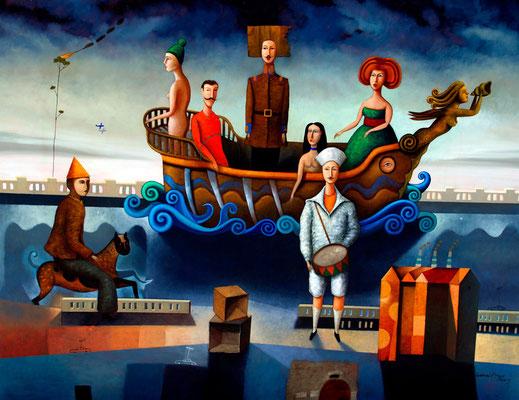 """Titre """"La nave de los pecadores"""" (2014) / 180 cm x 140 cm / Peinture à l'huile sur toile / Prix: 23 000€"""