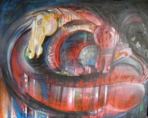 """Titre """"Duelo Rojo"""" (2013) / 146 cm x 114 cm / Peinture à l'acrylique sur toile / Prix: 10 000€"""