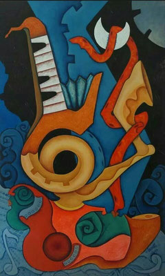 """Titre """"Music"""" (2013) / 152 cm x 91 cm / Peinture à l'huile sur toile / Prix: 7200€"""