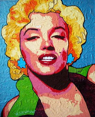 """Titre """"Marilyn Monroe"""" (2011) / 100 cm x 82 cm / Technique mixte: peinture à l'huile et à l'acrylique sur toile / Prix: 3000€"""