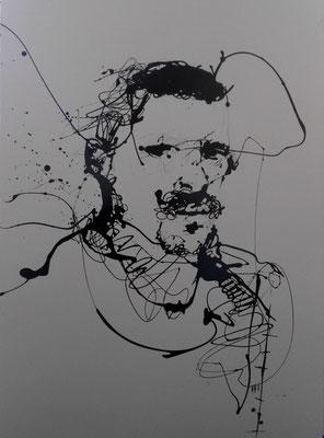 """""""Man I"""" (2013) / 94 cm x 64 cm / Glycérophtalique sur papier / Prix : 1200€"""