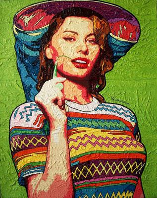 """Titre """"Sophia Loren"""" (2011) / 100 cm x 80 cm / Technique mixte: peinture à l'huile et à l'acrylique sur toile / Prix: 3200€"""