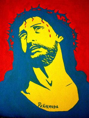 """Titre """"Cristo"""" (2013) / 26 cm x 20 cm / Peinture à l'acrylique sur toile / Prix : 1400€"""
