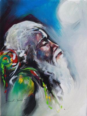 """Titre """"Faith N°2"""" (2015) / 61 cm x 46 cm / Peinture à l'acrylique sur toile / Prix: 1500€"""