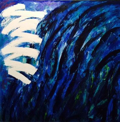 """Titre """"Here Comes The Light"""" (2015) / 122 cm x 122 cm / Peinture à l'huile sur toile / Prix: 9200€"""