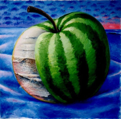"""Titre """"Hybride"""" (2003) / 61 cm x 61 cm / Peinture à l'acrylique sur toile / Prix: 2200€"""