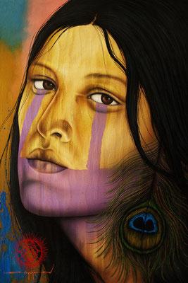 """Titre """"In Dreams"""" (2013) / 74 cm x 51 cm / Technique mixte : peinture à l'acrylique et à l'huile sur toile / Prix: 2500€"""