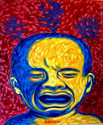 """Titre """"Dolor"""" (2013) / 100 cm x 80 cm / Peinture à l'acrylique sur toile / Prix: 3800€"""