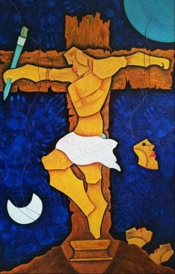 """Titre """"The Crucified Painter"""" (2012) / 152 cm x 91 cm / Peinture à l'huile sur toile / Prix: 7600€"""