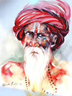 """Titre """"An Indian Sage N°8"""" (2015) / 41 cm x 30 cm / Peinture à l'huile sur toile / Prix: 1300€"""