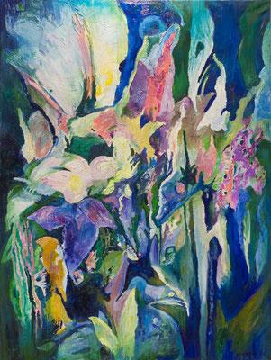 """Titre """"Flower"""" (2015) / 120 cm x 90 cm / Peinture à l'huile sur toile / Prix: 7900€"""