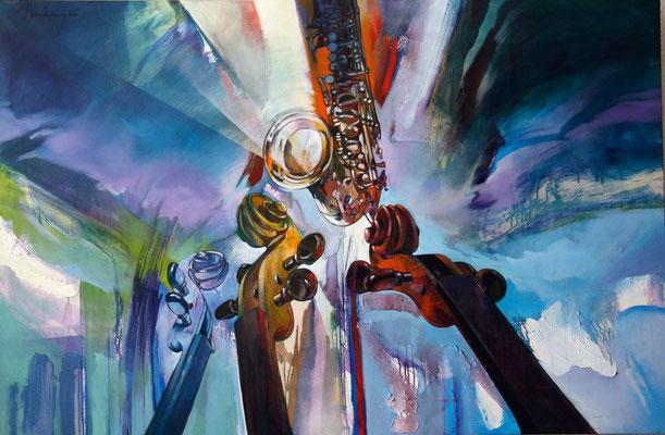 """Titre """"Jazz Fusion"""" (2006) / 195 cm x 130 cm / Peinture à l'acrylique sur toile / Prix: 15 000€"""