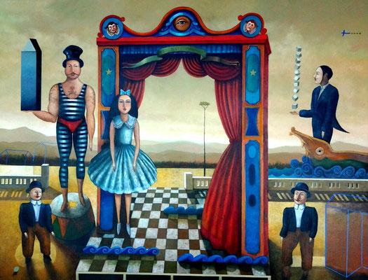 """Titre """"Teatro Ambulante"""" (2015) / 150 cm x 120 cm / Peinture à l'huile sur toile / Prix: 19 000€"""