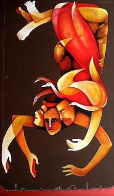 """Titre """"Life N°1"""" (2014) / 152 cm x 91 cm / Peinture à l'acrylique sur toile / Prix: 3900€"""