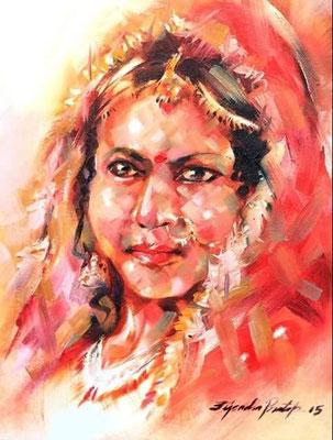 """Titre """"Indian Bride N°2"""" (2015) / 41 cm x 30 cm / Peinture à l'huile sur toile / Prix: 1400€"""