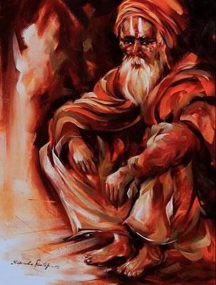 """Titre """"An Indian Sage n°13"""" (2015) / 61 cm x 46 cm / Peinture à l'huile sur toile / Prix: 1800€"""