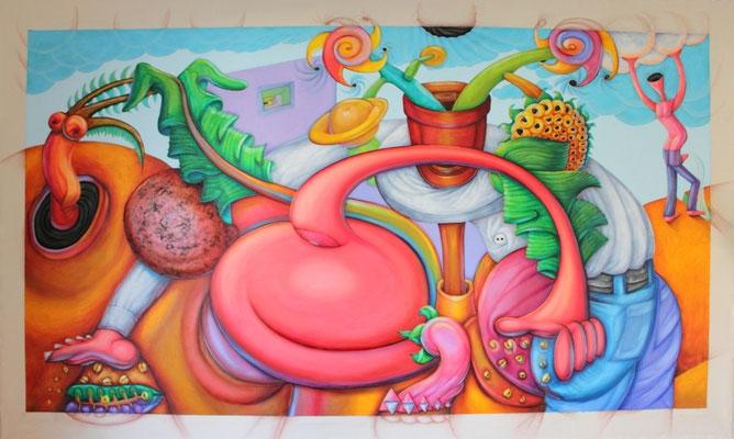 """Titre """"The Sower"""" (2012) / 274 cm x 170 cm / Technique mixte: peinture à l'acrylique et à l'huile sur toile / Prix: 16 000€"""