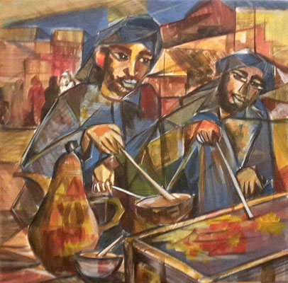 """Titre """"Turkish Coffee Makers"""" (2014) / 60 cm x 40 cm / Peinture à l'acrylique sur toile / Prix: 1300€"""