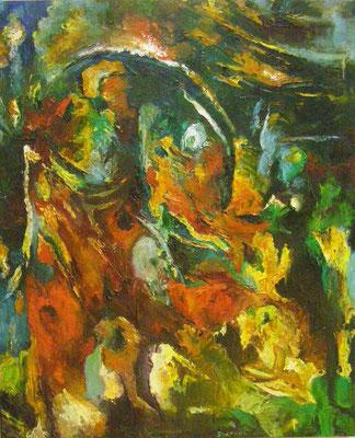 """Titre """"Opus"""" (2014) / 120 cm x 90 cm / Peinture à l'huile sur toile / Prix: 7500€"""