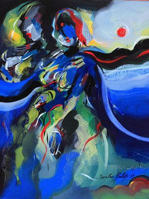 """Titre """"Grace N°2"""" (2015) / 51 cm x 41 cm / Peinture à l'acrylique sur toile / Prix: 1800€"""