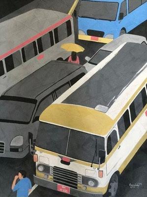 """Titre """"Yangon Road N°2"""" (2014) / 122 cm x 91 cm / Peinture à l'acrylique sur toile / Prix: 2000€"""