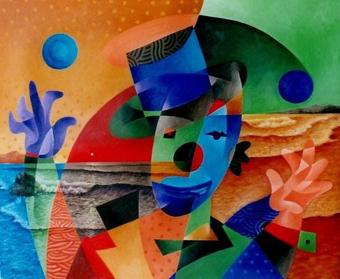 """Titre """"Un cirque à la plage No.3"""" (2002) / 61 cm x 51 cm / Peinture à l'acrylique sur toile / Prix: 2500€"""