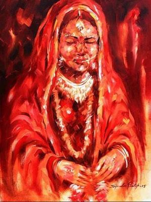 """Titre """"Indian Bride n°3"""" (2015) / 61 cm x 46 cm / Peinture à l'huile sur toile / Prix: 1900€"""