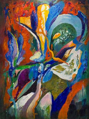 """Titre """"Un vent tendre"""" (2015) / 120 cm x 90 cm / Peinture à l'huile sur toile / Prix: 7900€"""