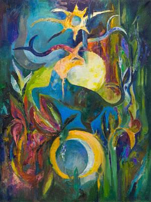 """Titre """"Cerf"""" (2013) / 120 cm x 90 cm / Peinture à l'huile sur toile / Prix: 7800€"""