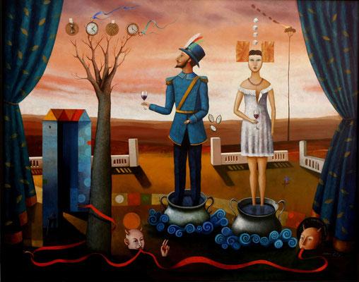 """Titre """"Adán y Eva en el Paraíso"""" (2015) / 150 cm x 120 cm / Peinture à l'huile sur toile / Prix: 17 000€"""