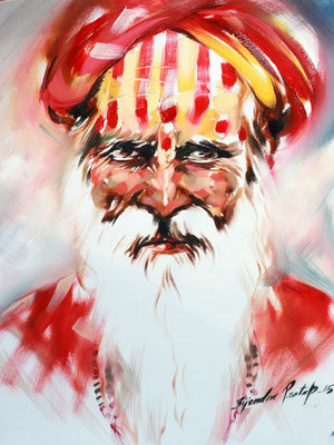 """Titre """"An Indian Sage N°7"""" (2015) / 41 cm x 30 cm / Peinture à l'huile sur toile / Prix: 1400€"""