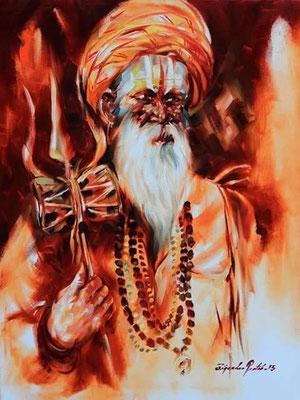 """Titre """"An Indian Sage n°12"""" (2015) / 61 cm x 46 cm / Peinture à l'huile sur toile / Prix: 1800€"""