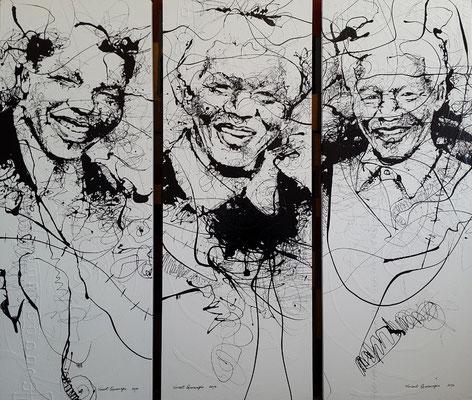 """Titre """"Mandela the Son, Father and Grandpa"""" (triptyque) (2014) / Peinture à l'acrylique sur panneau / 185 cm x 69 cm / Peinture à l'acrylique sur panneau / Prix: 10 500 €"""