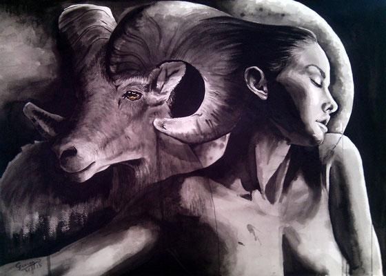 """""""El carnero y la mujer"""" (2015) / 72 cm x 52 cm / Encre de Chine sur papier / Prix : 1400€"""