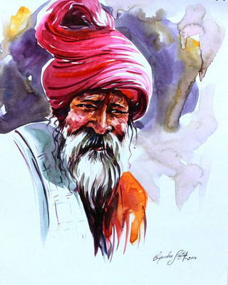 """An Indian Sage N°2"" (2014) / 41 cm x 30 cm / Aquarelle sur papier / Prix : 780€"