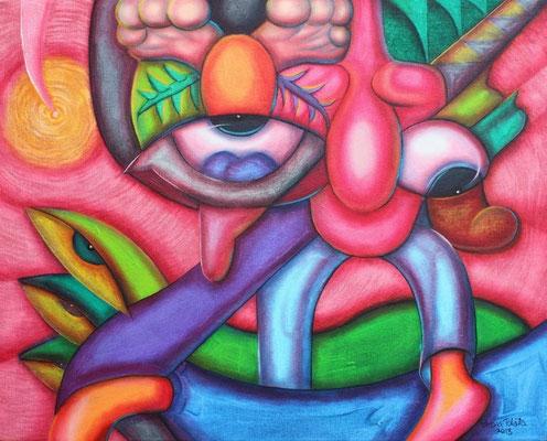 """Titre """"Esguince"""" (2013) / 51 cm x 41 cm / Media mixte sur toile: peinture à l'acrylique et à l'huile / Prix: 1600€"""