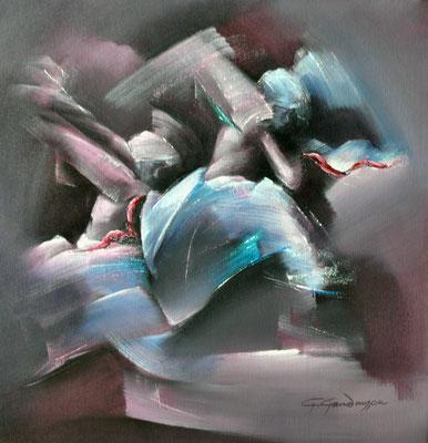 """Titre """"Pung Cholom N°2"""" (2014) / 50 cm x 50 cm / Peinture à l'acrylique sur toile / Prix: 2400€"""