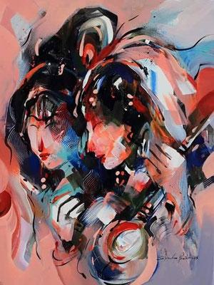 """Titre """"Meera and Krishna"""" (2015) / 61 cm x 46 cm / Peinture à l'huile sur toile / Prix: 1700€"""