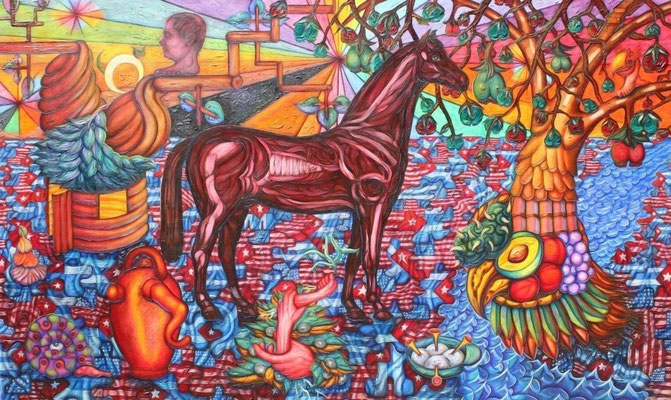 """Titre """"Houyhnhnms"""" (2009) / 152 cm x 91 cm / Peinture à l'huile sur toile / Prix: 10 000€"""