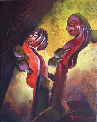 """Titre """"Dialogo tras telones"""" (2015) / 51 cm x 41 cm / Peinture à l'acrylique sur toile / Prix: 1800€"""