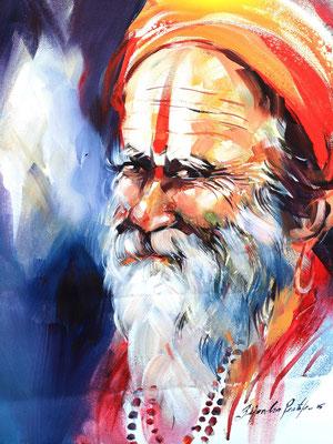 """Titre """"An Indian Sage N°10"""" (2015) / 41 cm x 30 cm / Peinture à l'acrylique sur toile / Prix: 1400€"""