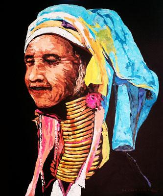"""Titre """"Padaung People N°2"""" (2015) / 91 cm x 76 cm / Peinture à l'acrylique sur toile / Prix: 4300€"""