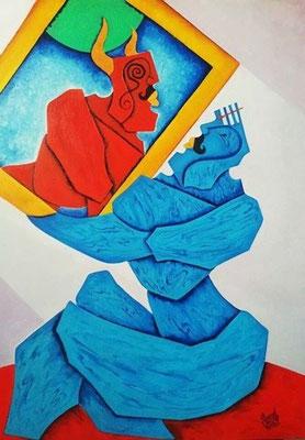 """Titre """"Self Seeking"""" (2012) / 102 cm x 76 cm / Peinture à l'huile sur toile / Prix: 5200€"""