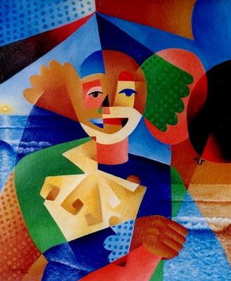 """Titre """"Un cirque à la plage No.1"""" (2002) / 61 cm x 51 cm / Peinture à l'acrylique sur toile / Prix: 2500€"""