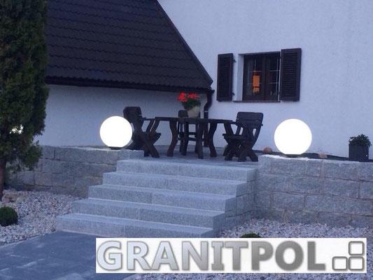 Mauersteine schlesisch GRAU 40x20x20cm und Blockstufen GRAU