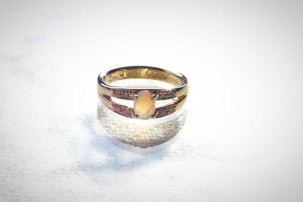 K18オパール手作り指輪