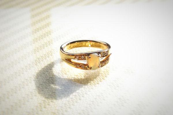 K18オパール手作り記念指輪