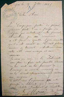 la lettre de recommandation de Monod, document 3 - source A.D. Saône-et-Loire