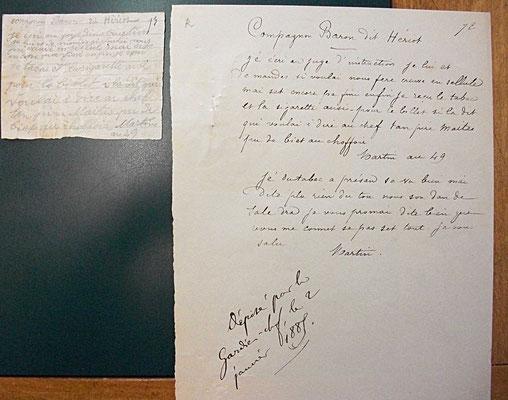 """Bilet de Martin à Hériot dit """"Baron""""- janvier 1885 - source : A.D. de Macon"""